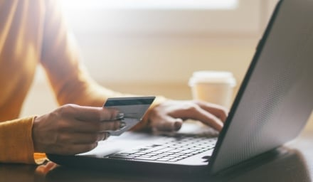 Individual shopping online with credit card